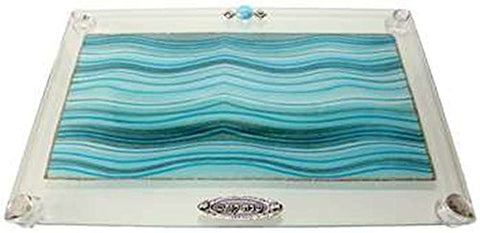 Ultimate Judaica Challah Tray On Legs Applique - Ocean Blue - 15  inch  W X 10  inch  L
