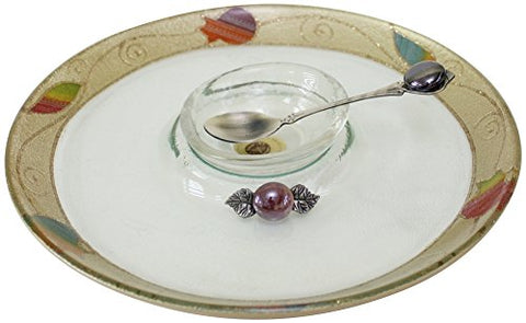 L'Shanah Tovah Happy&Healthy Honey Dish Plate Round Design - Rainbow - Tray 9.5 inch  D - Bowl 3 inch  D