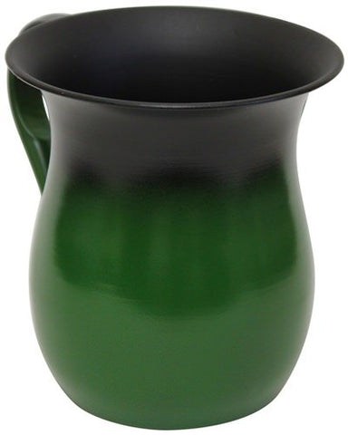Ultimate Judaica Wash Cup Stainless Steel Green - 5.5 inch H