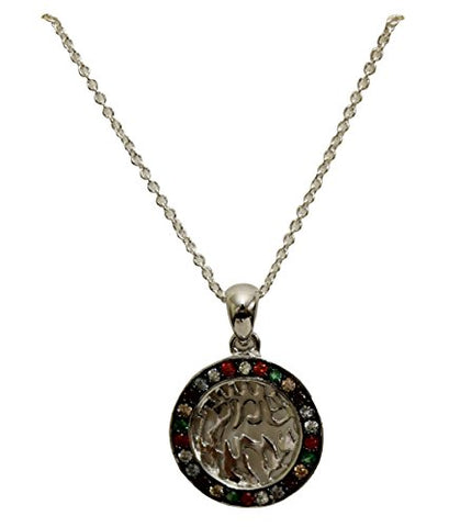 Silver Shema Amu;et Necklace With Multi Color Stones Stones - Chain 18 inch  Pendant 1/2 inch D