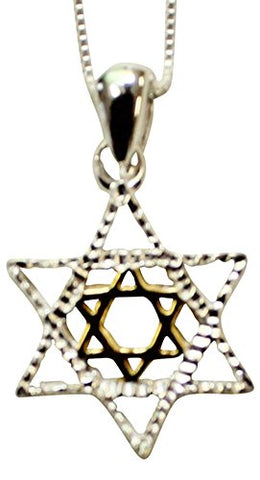Silver Star of David Necklace With Gold Plating - Chain 18 inch  Pendant 3/4 inch  H  5/8 inch  W