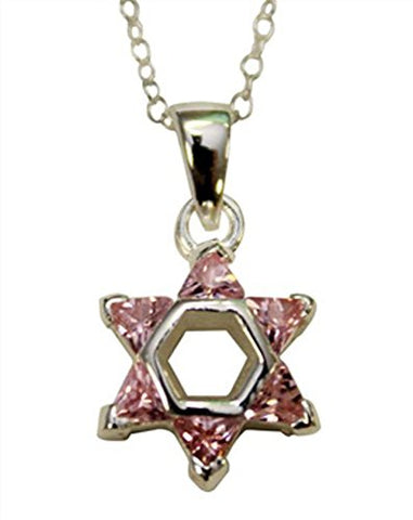 Silver Star of David with Pink Color Stones Necklace - Chain 18 inch  Pendant 1/2 inch W X 1 inch H