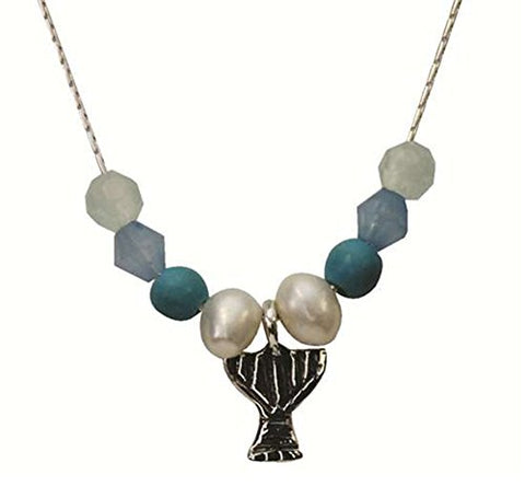 Silver Menora Necklace With Pearl Ocean And Turquoise - Chain 16 inch  Pendant 2/8 inch  X 2/8 inch