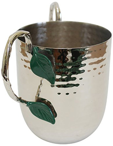 Ultimate Judaica Holister Washing Cup Hammered Stainless Steel With Silver Handles & Green Leaf - 5 inch  X 4.5 inch