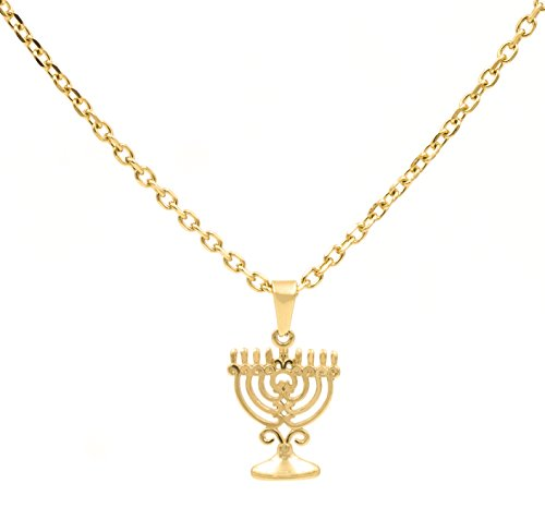 BenandJonah Stainless Steel Menorah Pendant With 18 inch  Chain Gold Plated