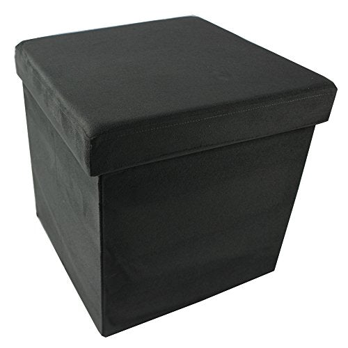 Ben&Jonah Collection Collapsible Storage Ottoman - Charcoal Suede 15x15x15