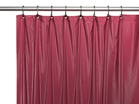 Park Avenue Deluxe Collection Premium 4 Gauge Vinyl Shower Curtain Liner w/ Weighted Magnets and Metal Grommets in Burgundy