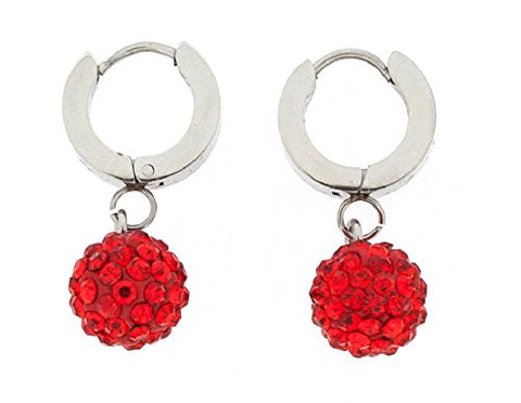 Ben and Jonah Stainless Steel Huggie Base Earring with Hanging Red Disco Ball with Red Stones