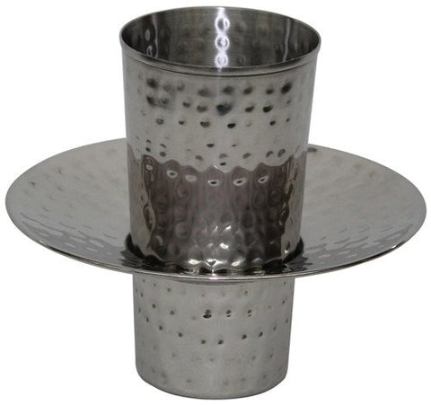 Beracha Collection Stainless Steel Mayim Achronim set (Bowl 3 inch H 6.75 inch W Cup 4 inch  H 3 inch W No Handles - Silver Hammered)