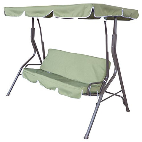 Eclipse Patio 3 Seat Sage Pad Bench Swing with Canopy 67 inch L X 43.3 inch D X 60.2 inch H