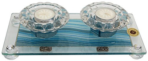 5th Avenue Collection Candle Stick With Tea Light Applique - Ocean Blue - Tray 11  inch  W X 6  inch  L Candlesticks 2  inch  H