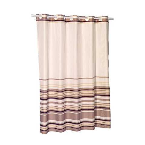 Park Avenue Deluxe Collection Park Avenue Deluxe Collection EZ-ON?  inch Stripes inch  Polyester Shower Curtain in Brown