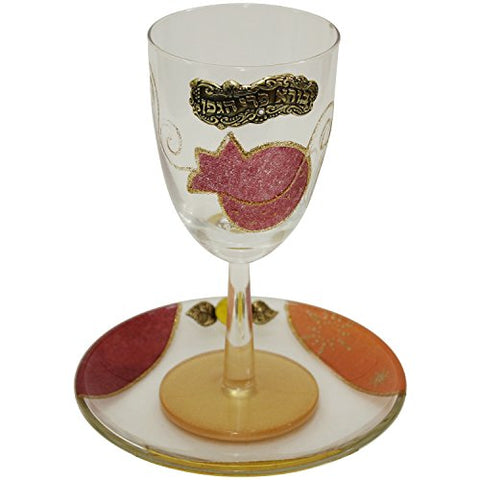 Glass Kiddush Cup with Plate  Applique - Red - Cup 6.5 inch  High - Plate 5 inch  x 5 inch