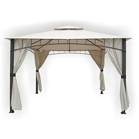 Eclipse Collection Square Column Two-Tier Gazebo Beige (12'L x 10'W x 11'9.5 inch H)
