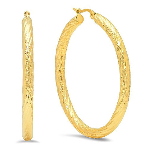 Ben and Jonah Ladies 18k Gold Plated Stainless Steel Twisted Hoop Earrings