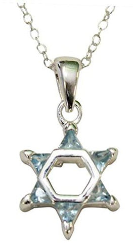 Silver Star of David with Light Blue  Color Stones Necklace - Chain 18 inch  Pendant 1/2 inch W X 1 inch H