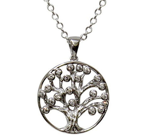 Silver Tree of Life Amulet with CZ Stones Chain 18 inch  Pendant 7/8W x 1 1/8 inch H
