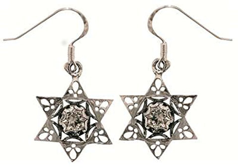 Silver Star Of David Earrings With Zircon - Star 6/8 inch  X 6/8 inch