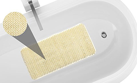 Park Avenue Deluxe Collection Park Avenue Deluxe Collection Grass Look Vinyl Bath Tub Mat Size 14 inch  x 26 inch  in Ivory