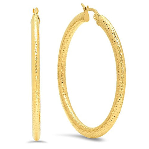 Ben and Jonah Ladies 18k Gold Plated Stainless Steel Thick Flat Hoop Earrings