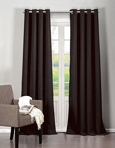 Park Avenue Collection Quincy 76X84 inch  Blackout Grommet Pair Panel /Black