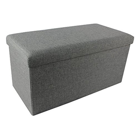 Ben&Jonah Collection Collapsible Storage Ottoman - Grey Linen 30x15x15