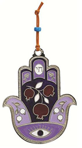 Ultimate Judaica Metal Hamsa Lg Pomegranate Design Lavender - 4 1/2 inch  H X 3 1/2 inch  W