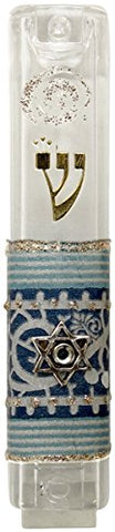 Ultimate Judaica Mezuzah Case Lucite 8cm Blue