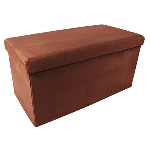 Ben&Jonah Collection Collapsible Storage Ottoman - Brick Suede 30x15x15
