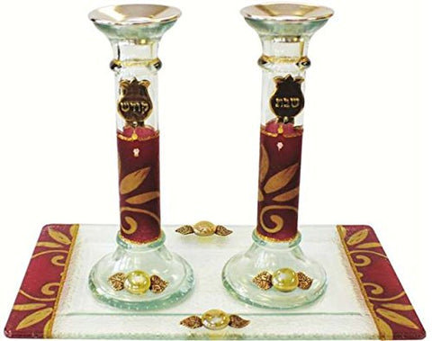 5th Avenue Collection Candle Stick With Tray Large Applique - Burgundy - Tray 10 inch  W X 5 inch  L - Candlesticks - 7.5 inch  H