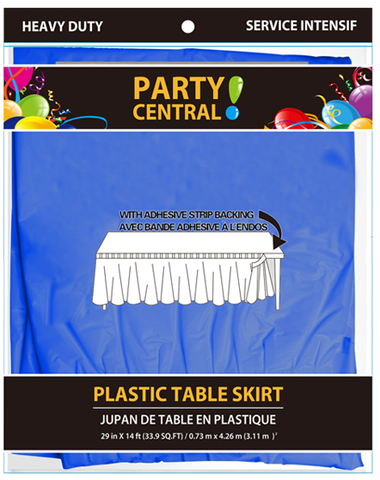 "Party Central Heavy Duty Plastic Table Skirt with Adhesive Backing (14'L x 29"" Drop) - Royal Blue"