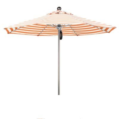 Eclipse Collection 9'SSteel SinglePole FGlass Ribs M Umbrella SV Anodized/Olefin/Orange-Natural Stripe