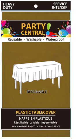 "Party Central Reusable Waterproof Plastic Rectangular Tablecover (54"" x 108"") - Gold"