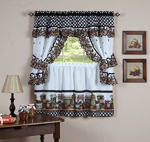 Fruit Cornucopia Mason Jar Kitchen Curtain Tiers and Swag Cottage Set (57 inch  x 36 inch )