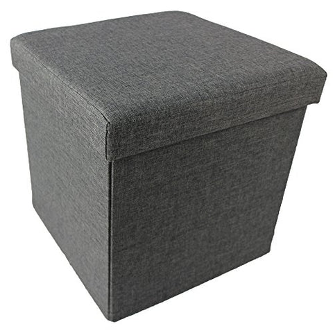 Ben&Jonah Collection Collapsible Storage Ottoman - Grey Linen 15x15x15