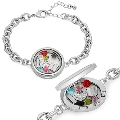 Lady's Metallic Alloy Magnetic Locket Bracelet with I - Swarovski Elements Heart - U and Simukated Crystal Charms