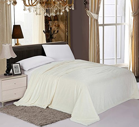 PlushComfort Luxurious Reversible Sherpa Lining Carved Velboa Comforter - Queen (Vanilla)