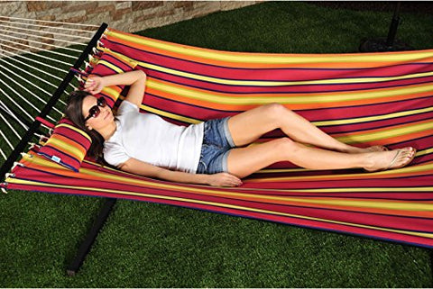 Patio Bliss Oversized Hammock with Spreader Bars and Pillow - Toasted Almond