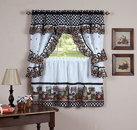 Park Avenue Collection Mason Jars Set - 57x24 Tier Pair/57x36 Tailored Topper with attached valance and tiebacks. - Black/White