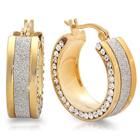 Ben and Jonah Ladies 18k Gold Plated Hoop Earrings with Shimmer and Simulated Diamonds