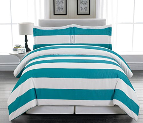 Park Avenue Collection Delia Stripe Printed Full/Queen Duvet 3Pc Set /Teal