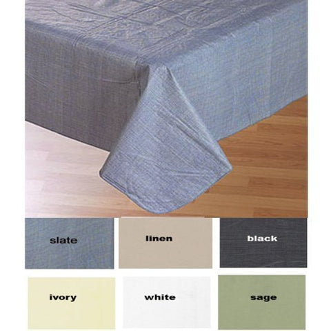 Buon Appetito Collection Solid Color Vinyl Tablecloth with Polyester Flannel Backing - Linen Rectangle (52 inch  x 90 inch )
