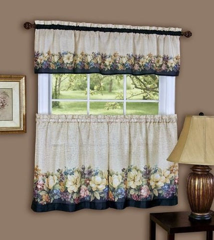 Park Avenue Collection Antique Floral Printed Tier and Valance set 58x36 Tier Pair and 58x13 Valance - Black