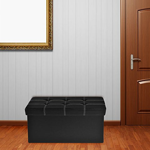 Ben&Jonah Collection Collapsible Tufted Storage Ottoman - Black Faux Leather 30x15x15