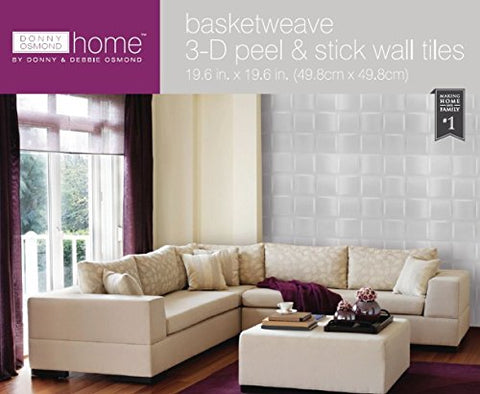 Park Avenue Collection Donny Osmond Home 3D Self Adhesive Wall Tiles - Basket Weave