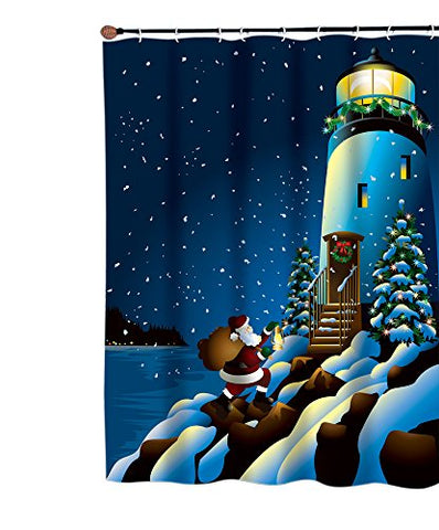 Park Avenue Deluxe Collection Park Avenue Deluxe Collection  inch Holiday Lighthouse inch  Fabric Shower Curtain
