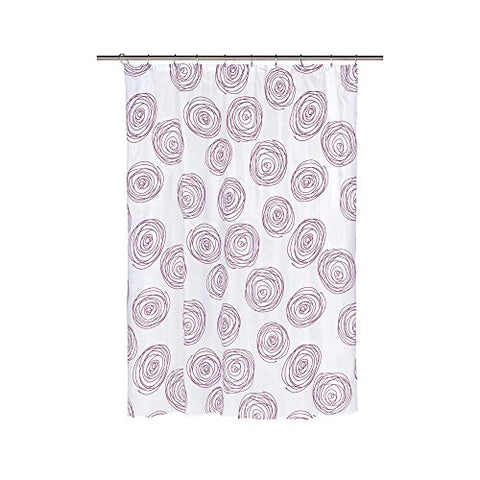 Park Avenue Deluxe Collection Park Avenue Deluxe Collection  inch Lucerne inch  Fabric Shower Curtain with Poly Taffeta Flocking in Magenta/White