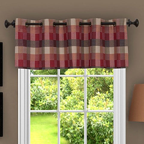 Park Avenue Collection Harvard - Valance w/10 Sm Grommets - 58x14 Burgundy