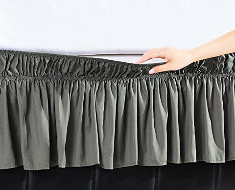 EasyWrap Silver Elastic Ruffled Bed Skirt with 16 inch  Drop - Queen/King