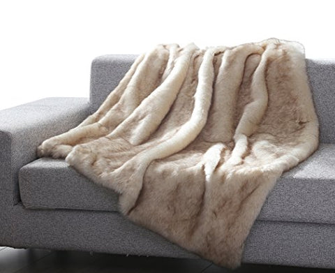 Into the Wild Heavy Faux Fur Throw Blanket (50 inch  x 60 inch ) - Brown Wolf